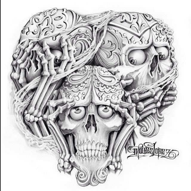 similiar hear no evil skulls drawings keywords