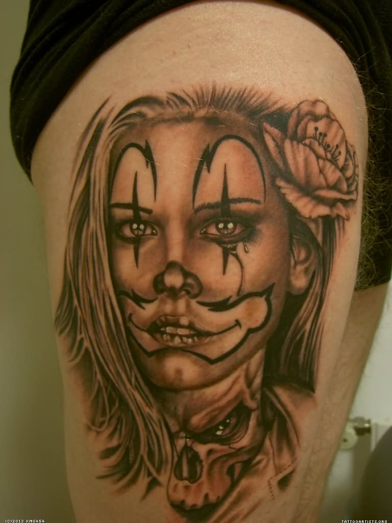 Mexican Gangster Clown Tattoos For Women