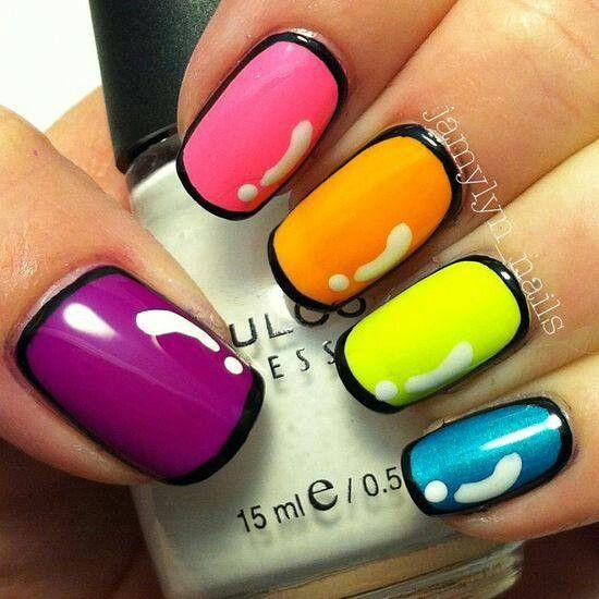 Neon Color Nail Art Designs Nailarts Ideas