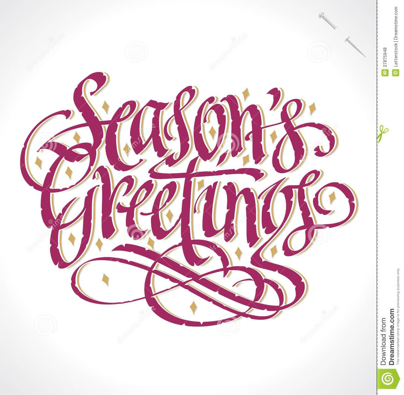 Season's Greetings Purple Hand Lettering
