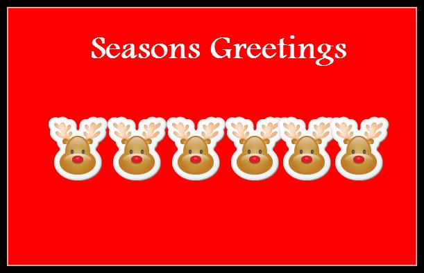 Season's Greetings Reindeer Faces Greeting Card